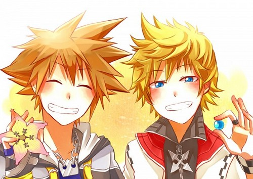 Kingdom Hearts 2 fond d'écran containing animé entitled Sora and Roxas