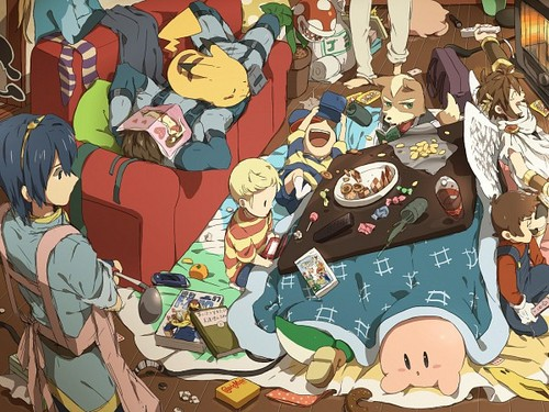 Super Smash Bros. Brawl वॉलपेपर containing ऐनीमे titled Super Sleepover
