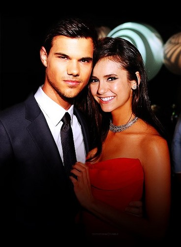 The Vampire Diaries TV toon achtergrond containing a business suit entitled Taylor Lautner and Nina Dobrev