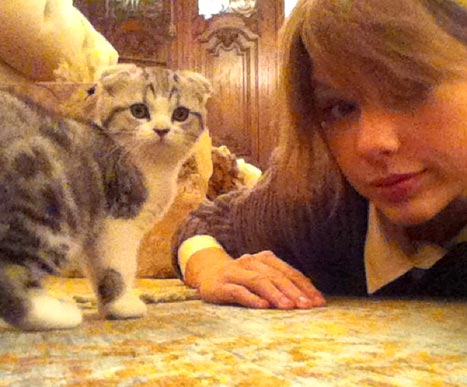 Taylor with her kitty Meredith
