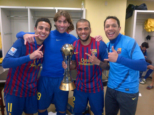 Thiago, Maxwell, Dani Alves & Adriano with the trophy