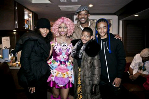 Willow, Jaden, Will and Jada Smith with Nicki Minaj