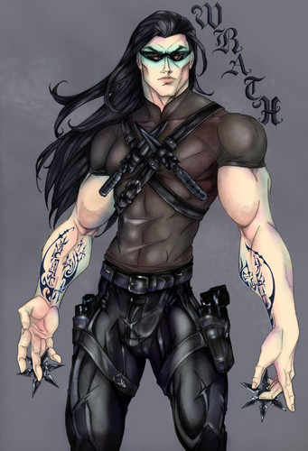 The Black Dagger Brotherhood karatasi la kupamba ukuta probably with a breastplate, a hip boot, and a tabard titled Wrath