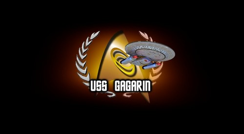 «The emblem of the spaceship USS Gagarin» [ «United Federation of Planets» ]