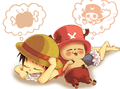 Chibi Luffy and Chopper - one-piece fan art