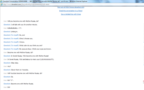 Cleverbot is Russia..AND China..AND America! o3o