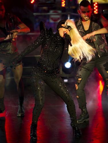 Gaga preforming on NYE at Times Square