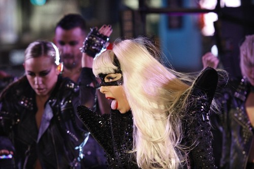 Gaga preforming on NYE at Times Square