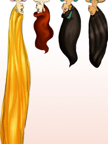 Hair lengths - disney-princess Fan Art