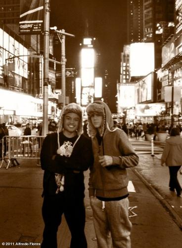 Justin & Alfredo in Times Square.