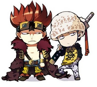 one piece wallpaper probably containing animê entitled chibi Kid and Law
