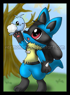Pokémon wolpeyper with anime titled Lucario