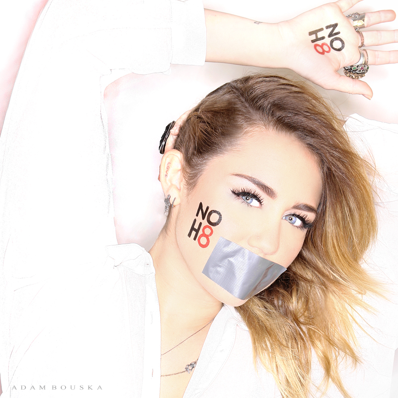 Miley-Official Pic From NoH8 Photoshoot!