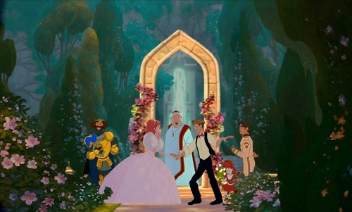 disney crossover wallpaper titled Milo & Giselle's Wedding