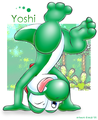 Yoshi doing a handstand