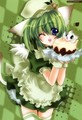 green cute cat