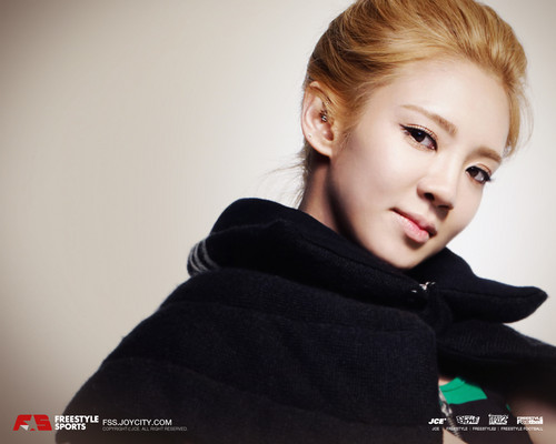 S♥NEISM wallpaper possibly containing a hood, a cloak, and a portrait called hyoyeon SNSD - FreeStyle Sports Wallpapers