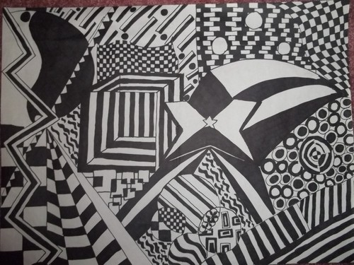 A Black and White Pattern Drawing