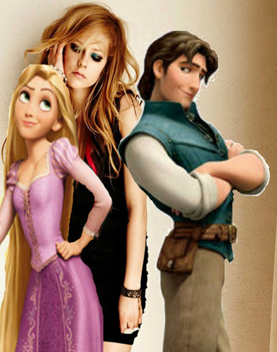 Avril with Rapunzel and Flynn Rider