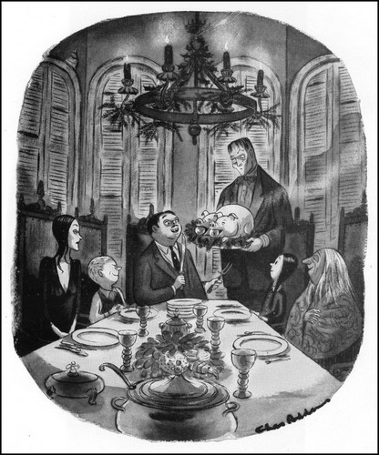 The Addams Family 1964 wallpaper possibly with a dinner table entitled Charles Addams
