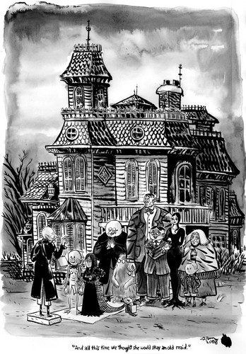 The Addams Family 1964 wallpaper probably containing a fountain and a street entitled Charles Addams