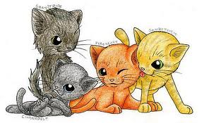 Fireheart, Graystripe, Sandstorm, and Bluestar