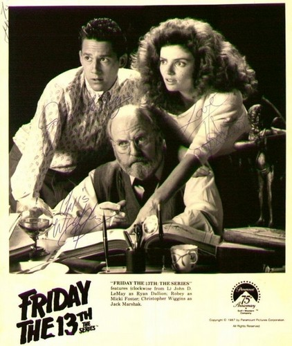 Friday the 13th: The Series wallpaper with a sign and a newspaper entitled John D. Lemay, Louise Robey, & Chris Wiggins