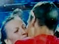 Kvitova and Berdych kiss - tennis wallpaper