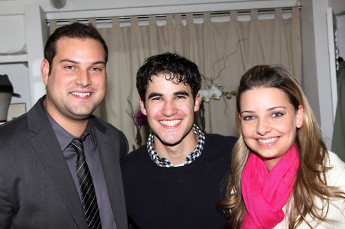 Max Adler, Darren Criss, and Jennifer Bronstein backstage at How To Succeed 04/01/12