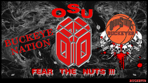 Ohio State universidad baloncesto fondo de pantalla probably with a sign and anime called RED BLOCK O BUCKEYE NATION