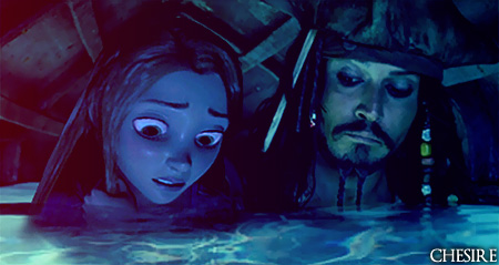disney crossover wallpaper with a hot tub titled Rapunzel/Jack Sparrow