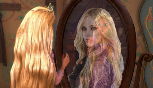 Rapunzel sees Avril in her Mirror