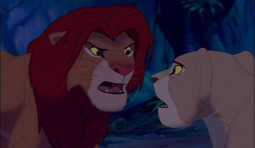 the lion king wallpaper probably with anime entitled Simba and Nala arguing
