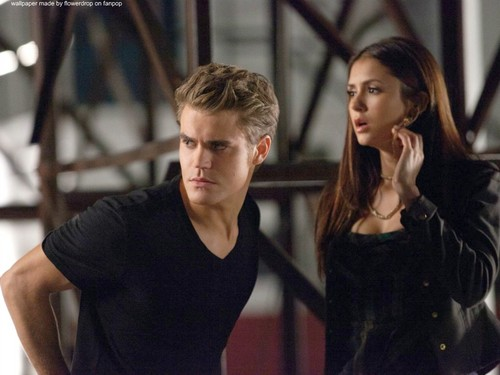 Stefan & Elena wallpaper probably containing a leotard and tights called Stefan and Elena ❤