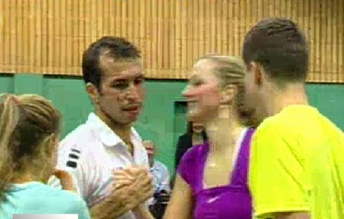 Stepanek and Kvitova kiss