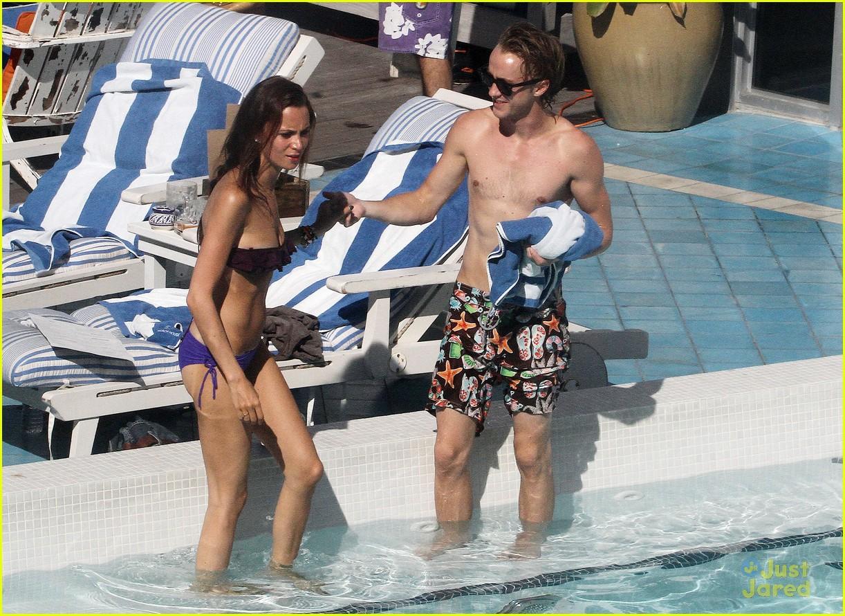 Tom Felton & Jade Olivia: Pair By The Pool