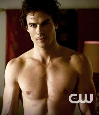 The Vampire Diaries TV Show wallpaper containing a six pack, a hunk, and skin titled damon....