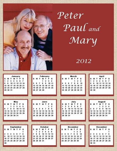 2012 Peter, Paul and Mary calendar