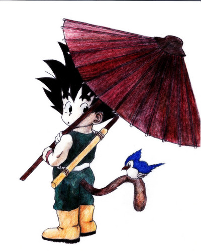dragon ball z wallpaper possibly containing a parasol called Adorable Kid goku