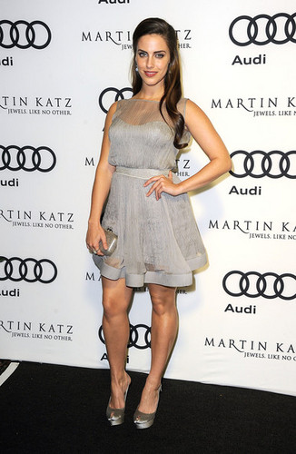 Jessica Lowndes wallpaper containing bare legs, a cocktail dress, and a chemise titled Audi Celebrates The 2012 Golden Globe Awards