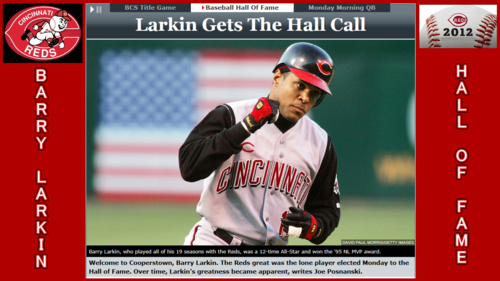 Baseball wallpaper containing a ballplayer, an umpire, and a first baseman entitled BARRY LARKIN 2012 BASEBALL HOF