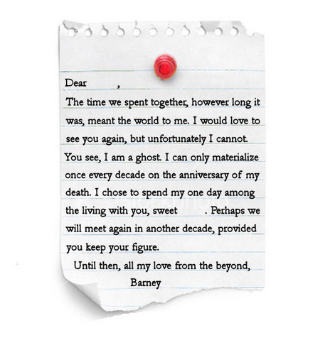 Barney the Ghost's Letter