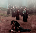Bellatrix and Voldemort with Death Eaters - bellatrix-and-lord-voldemort photo