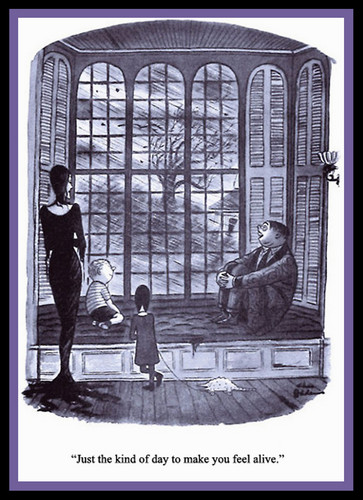 Addams Family wallpaper possibly containing a stained glass window, a street, and a penal institution entitled Charles Addams-Feel Alive