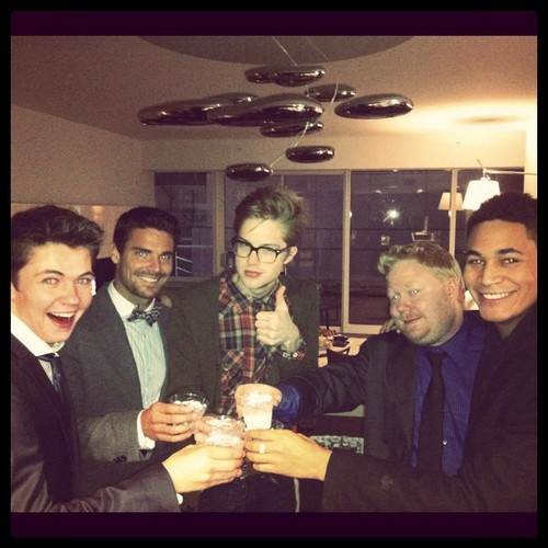 Damian McGinty wallpaper probably containing a business suit entitled Damian, Heath, Cameron, Paul and Bryce