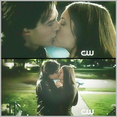 The Vampire Diaries wallpaper containing a portrait called Delena Kiss