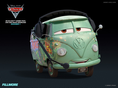 Disney Pixar Cars 2 wallpaper possibly with a minicar, a hatchback, and a compact called Fillmore