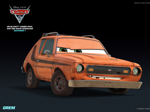 Disney Pixar Cars 2 wallpaper probably containing a sedan, a hatchback, and a hatchback called Grem