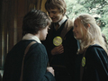 Hannah and Ernie with Harry - hufflepuff photo
