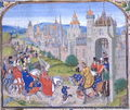 "Isabella, ""She-wolf of France"", Queen of England, enters Paris. - history photo"